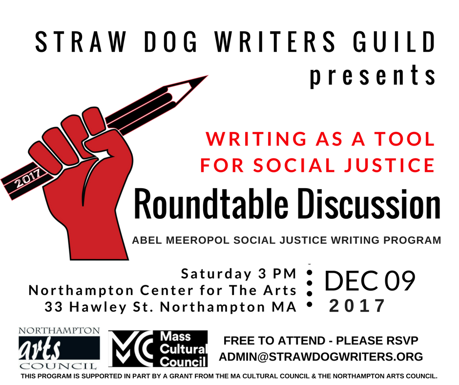 Past events straw dog writers guild roundtable discussion writing as a tool for social justice december 9 2017 300 pm 430 pm stopboris Gallery
